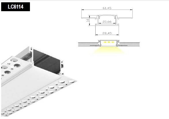 wide drywall led aluminum profile